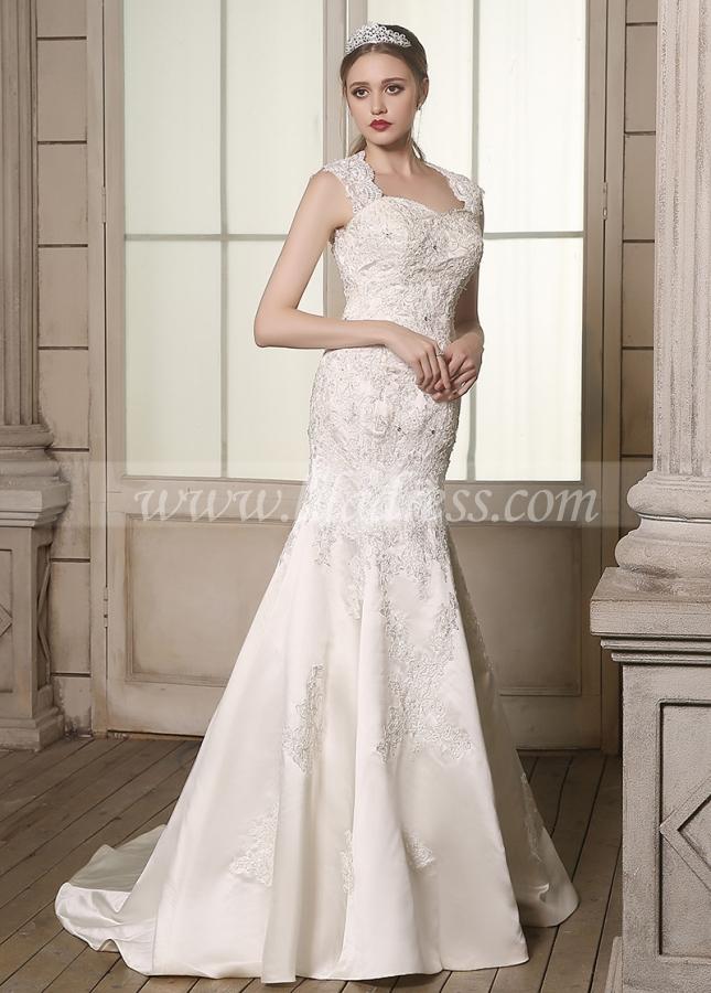 Romantic Satin Queen Anne Neckline Lace Appliques Mermaid Wedding Dresses