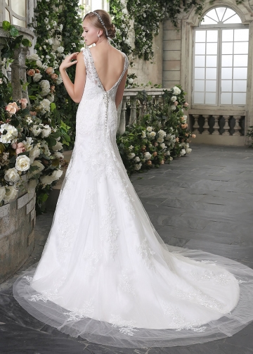 Elegant Tulle V-neck Neckline Lace Appliques Mermaid Wedding Dresses