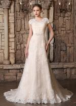 Romantic Tulle V-neck Neckline A-line Wedding Dresses With Lace Appliques