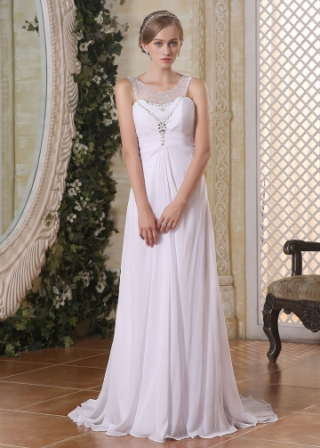 Stunning Chiffon Scoop Neckline A-line Wedding Dresses