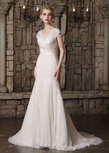 Marvelous Lace V-neck Neckline Mermaid Wedding Dresses
