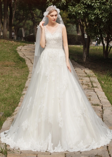 Gorgeous Tulle V-neck Neckline A-line Wedding Dresses With Lace Appliques