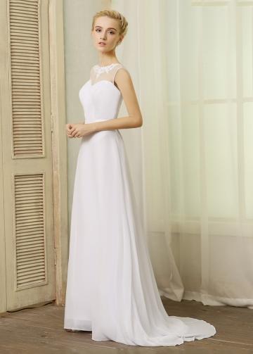 Elegant Chiffon Bateau Neckline A-line Wedding Dresses