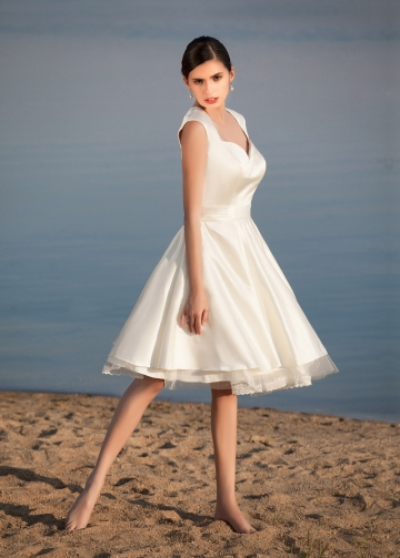 Chic Satin Queen Anne Neckline Knee-length A-line Wedding Dresses