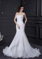 Elegant Organza Satin Sweetheart Neckline Mermaid Wedding Dress