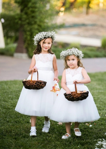 A-line Tea-length Lace and Tulle Flower Girl Dress Pattern