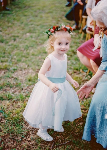 A-line Satin Tulle Belted Simple Flower Girl Dress Country