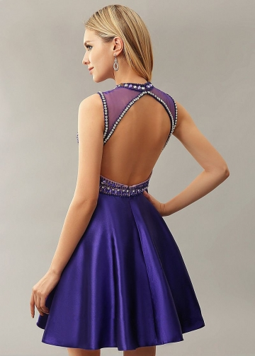 A-line Satin Rhinestones Short Homecoming Dresses Boutique