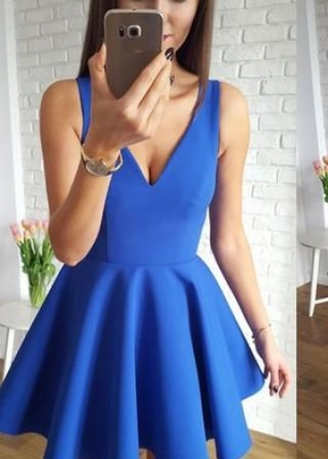 A-line Blue Satin Short Party Homecoming Dresses Under $100