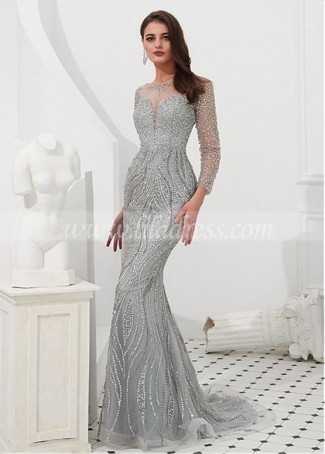 Eye-catching Tulle Jewel Neckline Floor-length Mermaid Evening Dresses With Sleeves