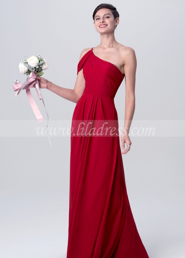 A-line Chiffon Red One Shoulder Bridesmaid Dresses Long