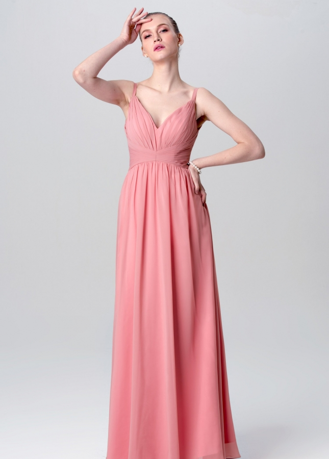 A-line Floor Length Chiffon Pink Wedding Guests Dresses