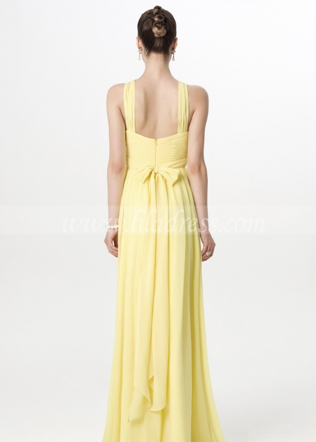 A-line Floor Length Chiffon Yellow Adult Wedding Party Dress