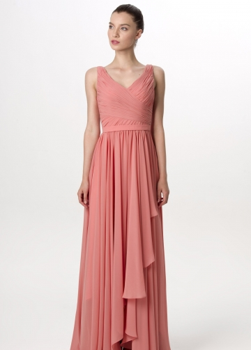A-line Pleated V-neck Coral Long Bridesmaid Dress for Weddings