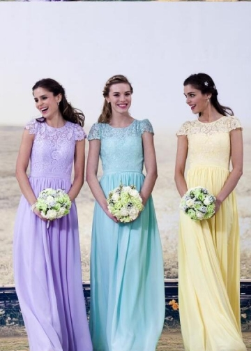 A-line Cap Sleeves Lace Chiffon Long Wedding-Guest-Dresses