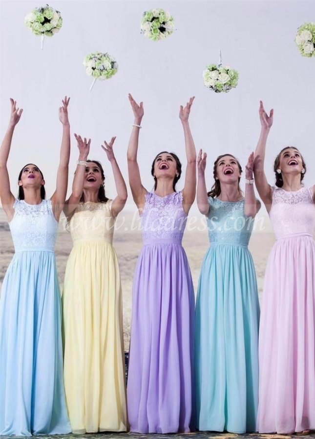 A-line Cap Sleeves Lace Chiffon Long Wedding-Guest-Dresses