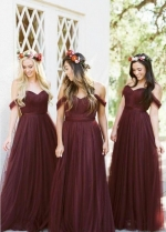 A-line Tulle Off-the-shoulder Wine Bridesmaid Dresses Long