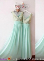 A-line Chiffon Long Bridesmaid Gown Mint Green Sequined V-neck