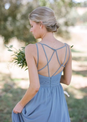 A-line Bridesmaid Wedding Guest Dress with Crisscross Straps vestido de festa de casamento
