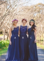 A-line Long Chiffon Mismatched Bridesmaid Dresses Royal Blue