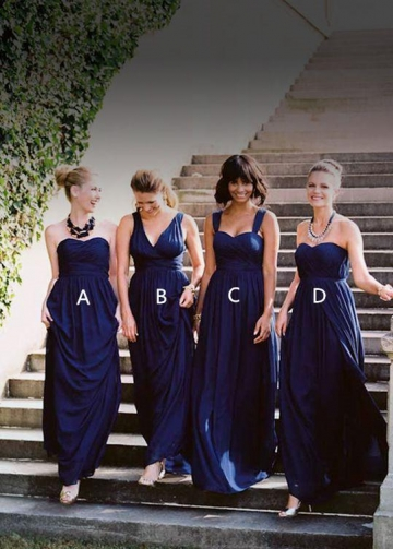 A-line Dark Blue Bridesmaid Long Dress Chiffon Gown for Wedding Parties