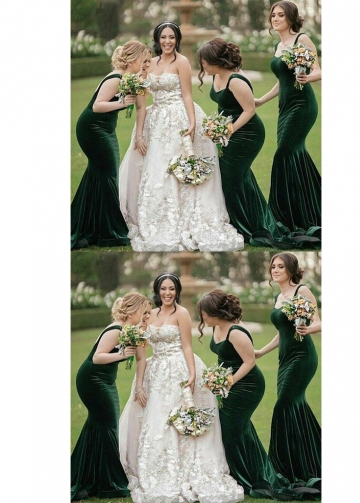 Long Dark Green Velvet Bridesmaid Dresses with Double Straps