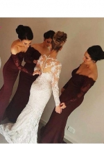 Affordable Burgundy Long Wedding Party Dress for Bridesmaid