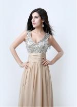 Marvelous Chiffon V-neck Neckline Sheath Evening Dresses With Sequin Lace