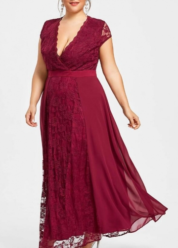 Ankle Length Burgundy Plus Size Mother of the Bride Lace Dress with Sleeves