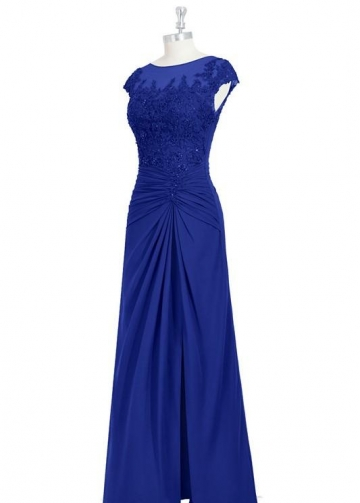 Appliqued Beaded Royalblue Mother of-the Bride Dress Cap Sleeves