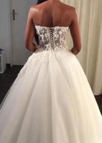 Appliqued Lace Corset Sweetheart Ball Gown Wedding Dresses