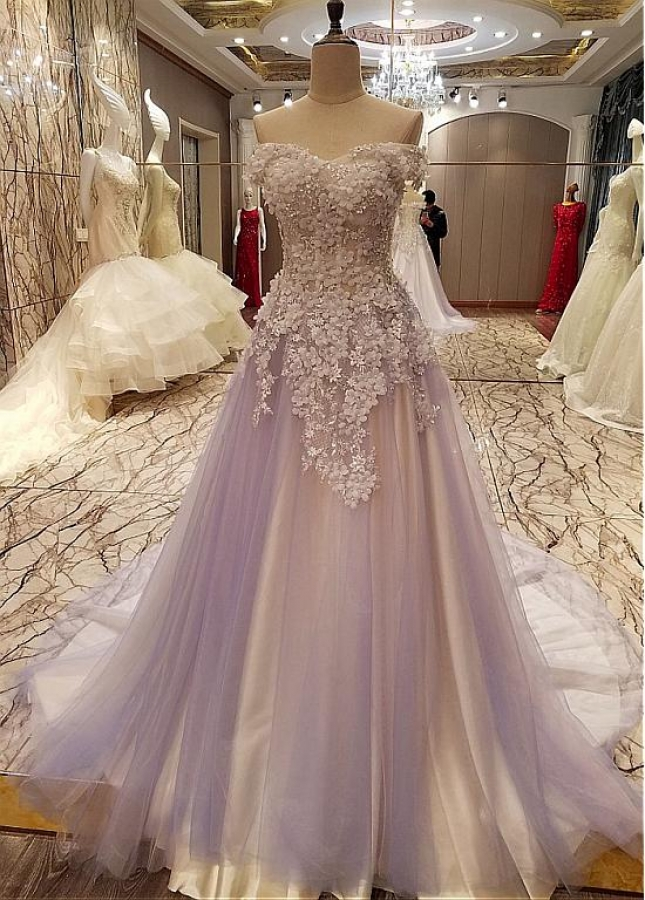 Modest Tulle Off-the-shoulder Neckline A-line Prom Dresses With Lace Appliques & Handmade Flowers