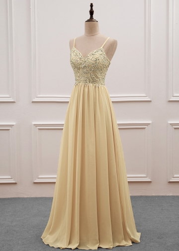 Stunning Chiffon Spaghetti Straps Neckline Full-length A-line Evening Dress With Beadings