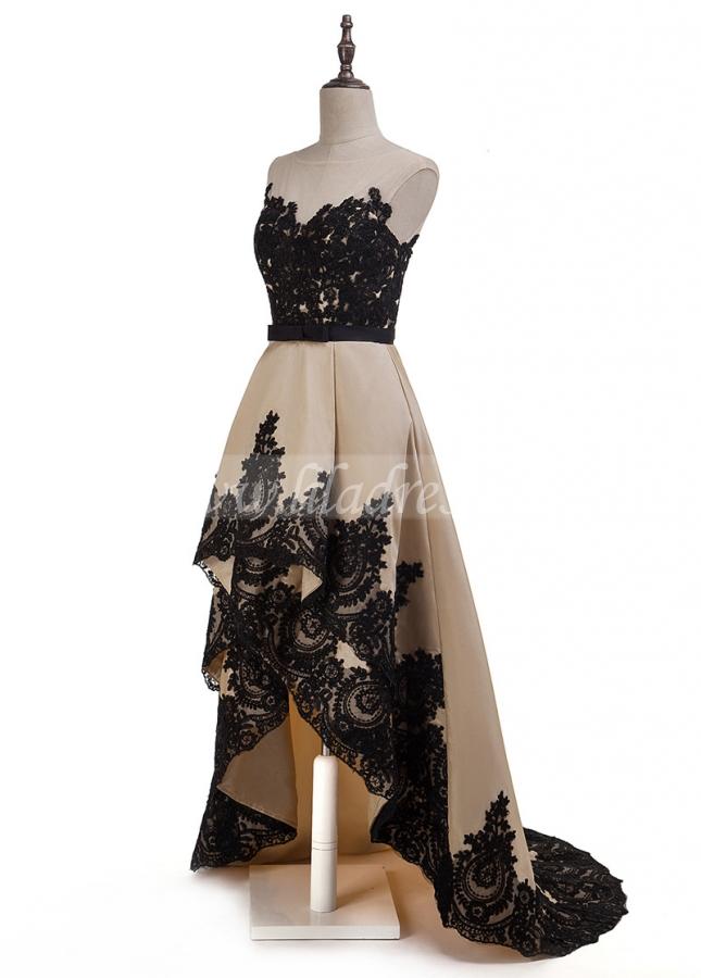 Graceful Tulle & Taffeta Bateau Neckline A-Line Hi-Lo Prom Dresses With Lace Appliques