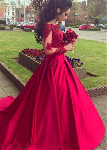 Elegant Satin Off-the-shoulder Neckline A-line Evening Dresses With Lace Appliques & Belt