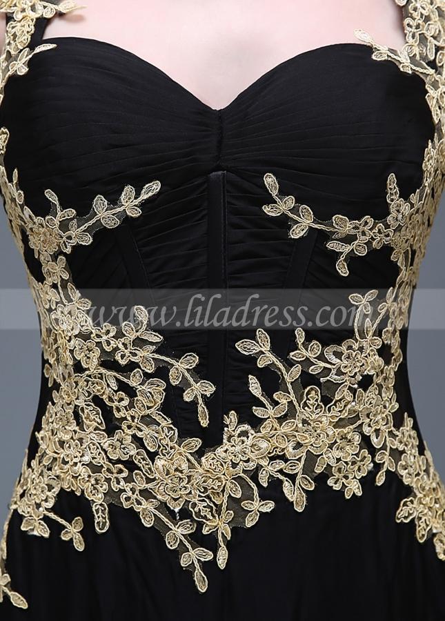 Elegant Chiffon Black Mermaid Evening / Prom Dresses