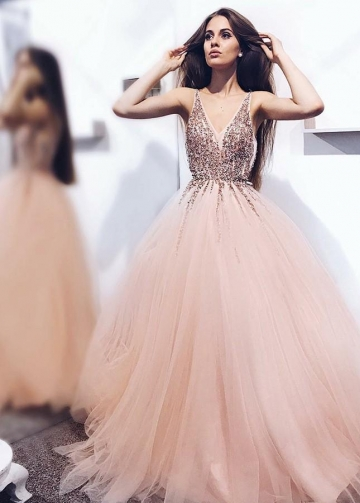 A-line Tulle Long Blush Prom Dresses with Beaded Sequins V-neck Bodice