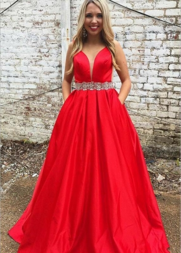 A-line Satin Plunging Neck Red Prom Long Dress with Rhinestones Belt