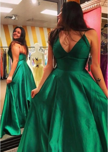 A-line Satin Green Formal Evening Gown with Pockets
