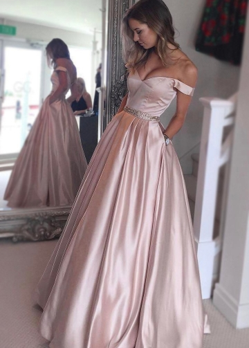 A-line Satin Pink Off the Shoulder Prom Dress with Pockets