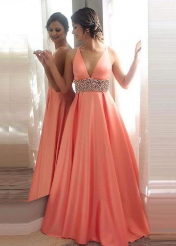 A-line Satin Long Pink Prom Gown Styles with Pearls Waistband