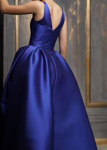 Asymmetrical Ankle Length Satin Prom Gown Royal Blue