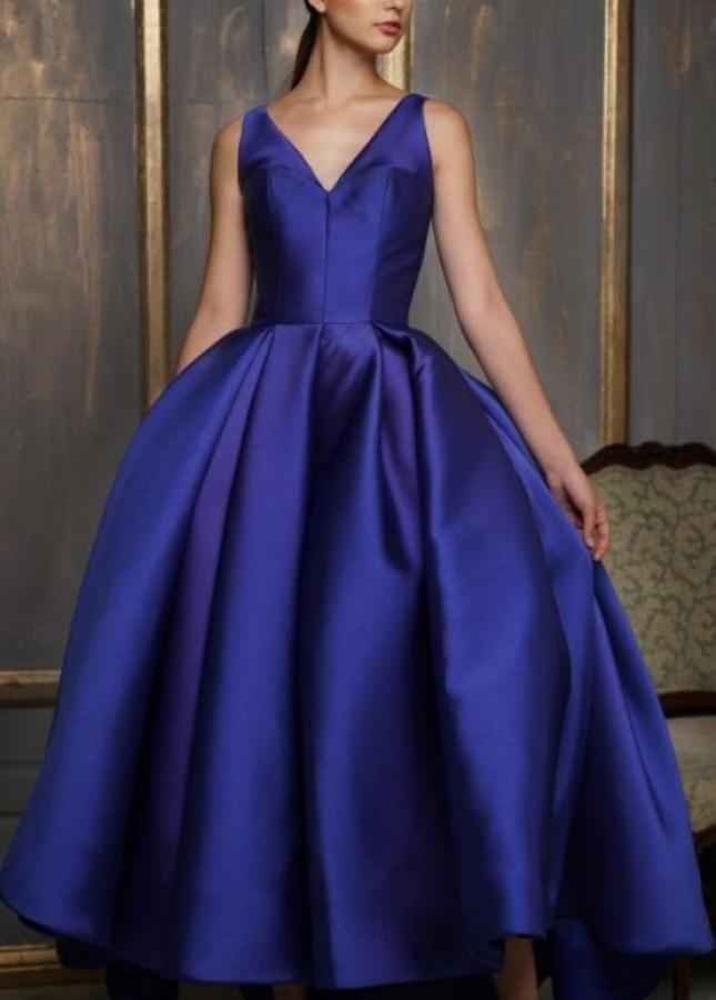 Asymmetrical Ankle Length Satin Prom Gown Royal Blue