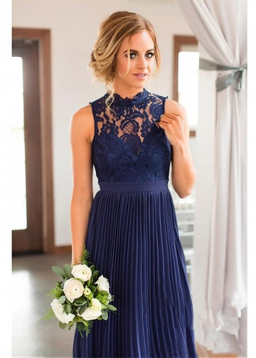 Chic Tulle & Chiffon Illusion High Collar Sleeveless A-line Bridesmaid Dress With Lace Appliques