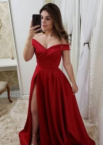 A-line Red Long Prom Party Dress with Slit Side