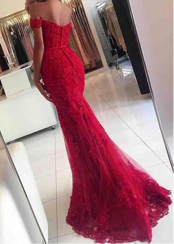 Junoesque Tulle Off-the-shoulder Neckline Mermaid Formal Dresses With Beaded Lace Appliques