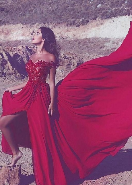 Appliques Lace Red Long Prom Dress with Off-the-shoulder