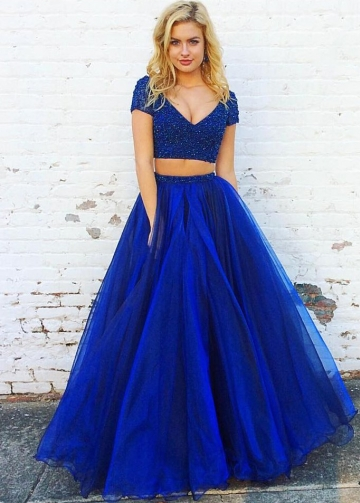 Awesome V-neck Beaded Short Sleeves Blue Prom Gown Two Pieces