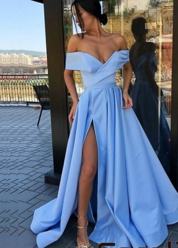 Aqua Blue Satin Long Prom Party Dresses with Off-the-shoulder
