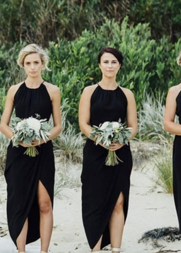 Asymmetrical Chiffon Hem Black Bridesmaid Dress Short